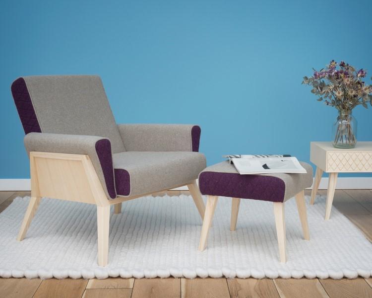 Die Kollektion Aesh&Tweed - ein Sessel, ein Hocker und ein Couchtisch - wurde in seiner Heimat Tirol handgefertigt, wie mir Georg Öhler begeistert erzählt.