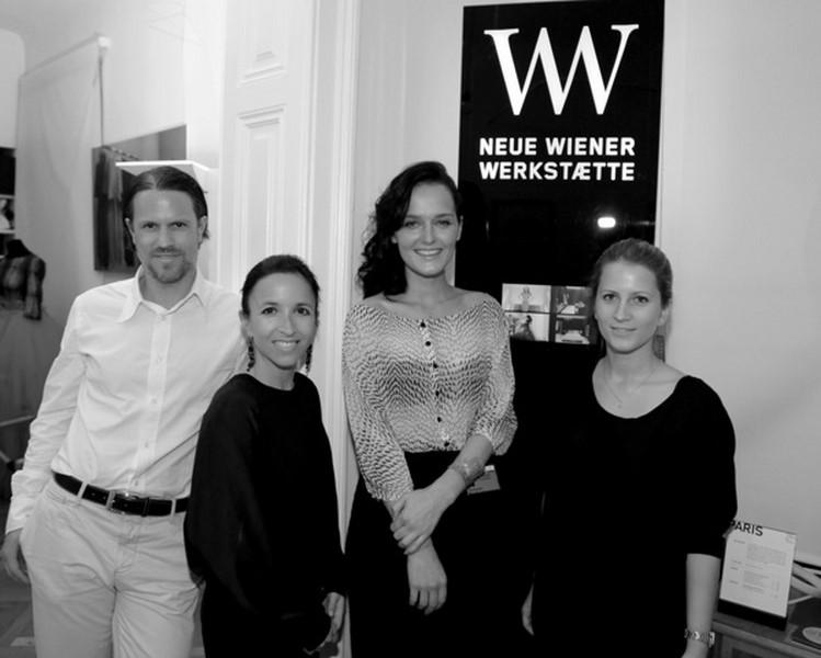 Stefan und Karin  Polzhofer (Neue Wiener Werkstätte), Eva Poleschinski, Viktoria Thaller (Neue Wiener Werkstätte) (Foto Nadine Wohlmuth)