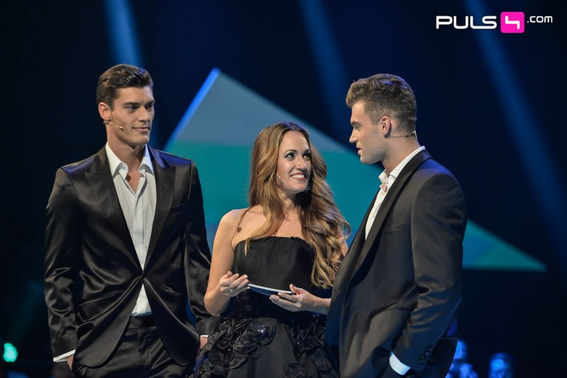 Moderatorin Bianca Schwarzjirg mit Damir und Miro,  die ab 8. Jänner bei Puls 4 ihre Traumfrau suchen