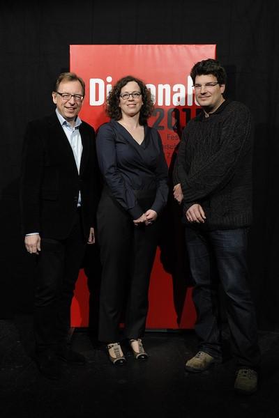 Landesrat Christian Buchmann, Barbara Pichler und Preisträger Nikolaus Geyrhalter (Foto Diagonale/Alexi Pelekanos)