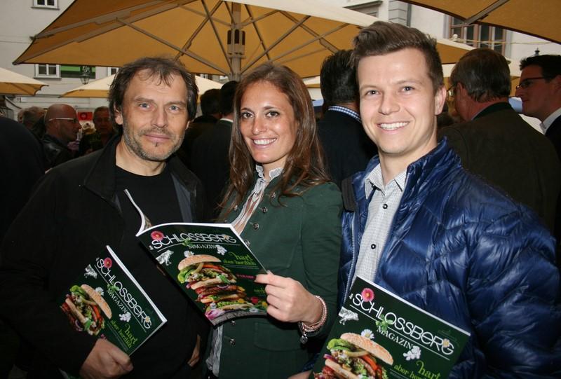 Schlossberg-Magazin-Macher Werner Krug, Christina Dow und Bernd Dorrong.