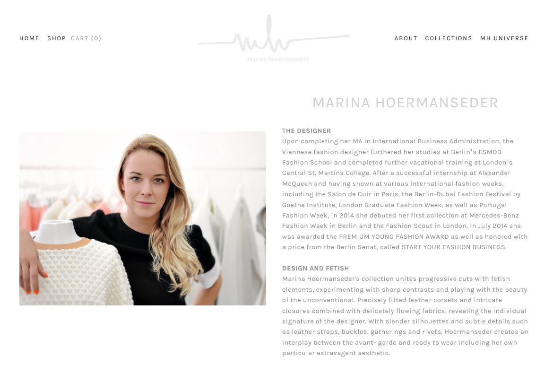 Marina Hoermanseder, die sich selbst als rastlos, ehrgeizig und aufgeweckt bezeichnet, beschreibt ihre Mode als Avantgarde, Pret a porter mit einem Hauch Fetisch (Screenshot: www.marinahoermanseder.com)
