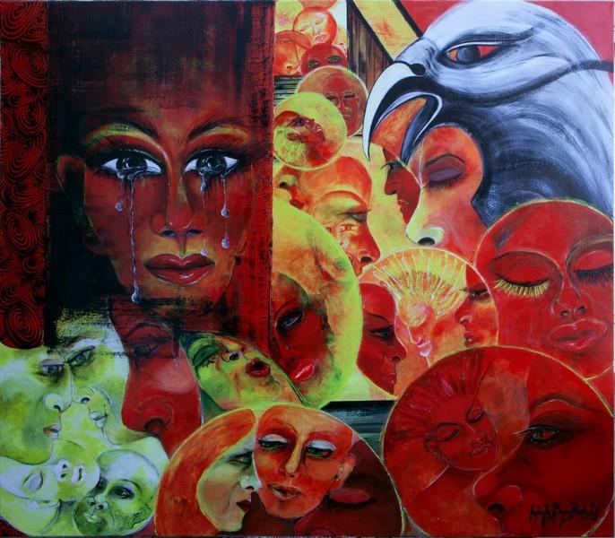 Berührung nennt sich eines der farbenprächtigen Bilder von Isabella Bogner-Bader (Foto Isabella Bogner-Bader)