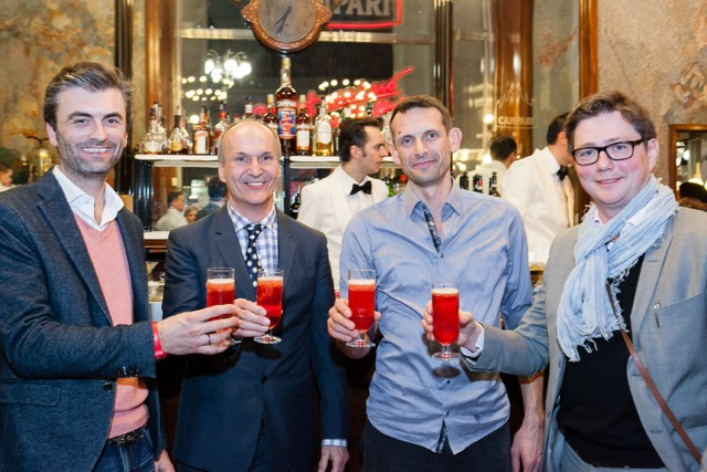 Thomas Hergge (Marketing Manager Campari Austria), Peter Friese (Inhaber Schwarzes Kameel), Christian Eberts (Inhaber 1. Österreichische Barkeeperschule) wird die Drinks kreieren und Gerd Zehetner (Architekt Archiguards) (Foto Campari)