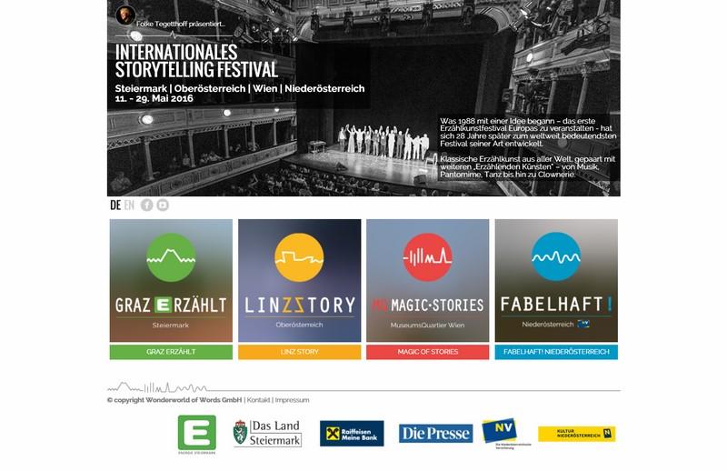 Das Internationale Storytelling Festival findet in der Steiermark (Graz, Südsteiermark und Obersteiermark),  in Oberösterreich (Linz), Niederösterreich (Bad Schönau und Wiener Neustadt) und dem MuseumsQuartier Wien statt (Screenshot www.storytellingfestival.at)