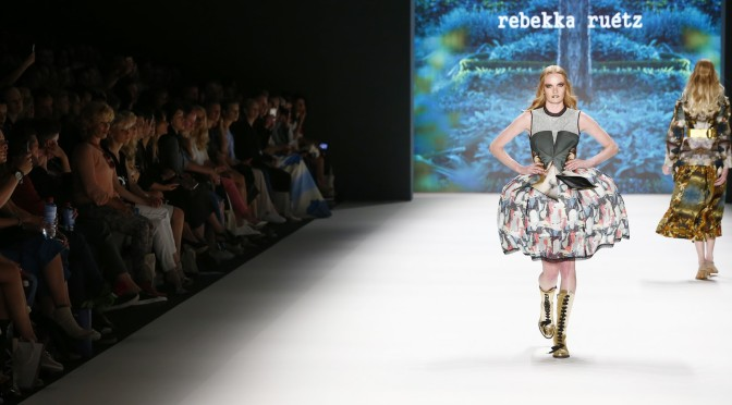 BERLIN, GERMANY - JUNE 29:  A model walks the runway at the Rebekka Ruetz show during the Mercedes-Benz Fashion Week Berlin Spring/Summer 2017 at Erika Hess Eisstadion on June 29, 2016 in Berlin, Germany.  (Photo by Frazer Harrison/Getty Images for Rebekka Ruetz)