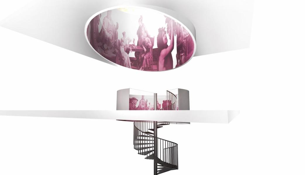 Plan des neuen Stiegenhauses im Wein&Co Flagshipstore am Wiener Stephansplatz ((c) BEHF)