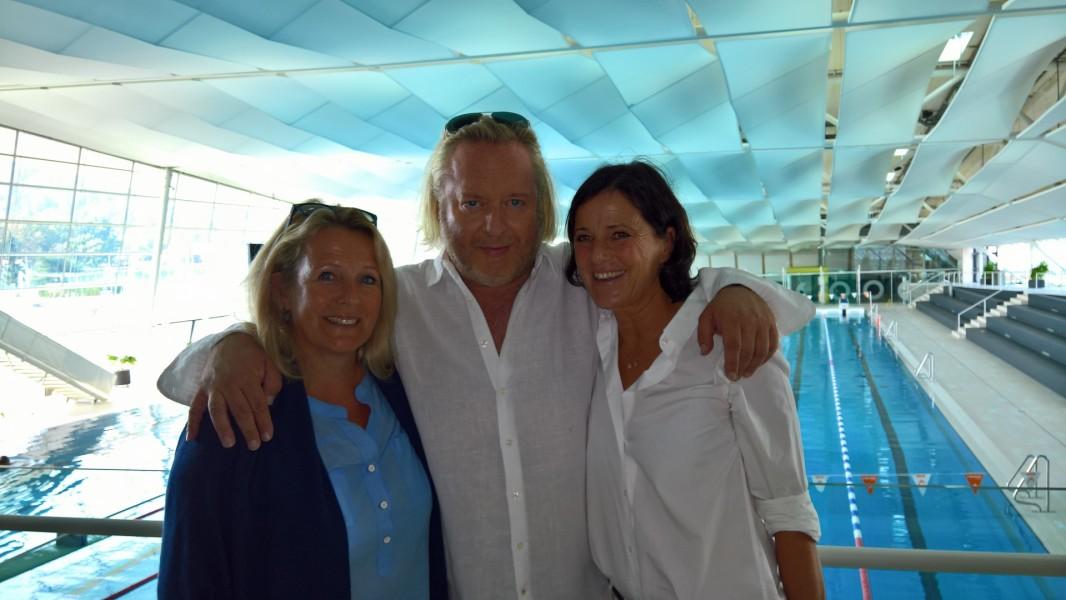 ORF-Redakteurin Sabine Weber mit Schauspieler Gregor Seberg und Barbara Rosanelli von der Grazer Filmcommission, die auch die Locations aussuchte (Foto Hedi Grager)