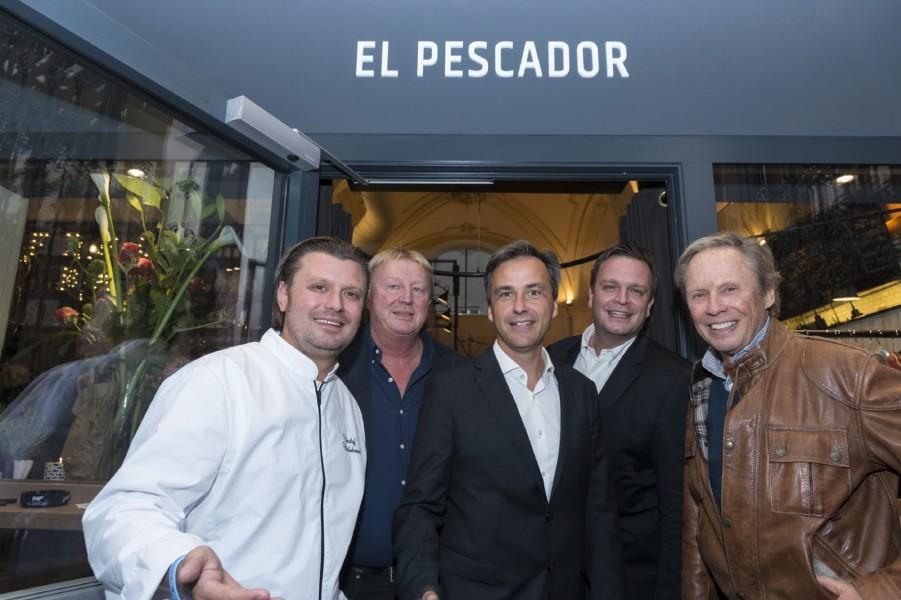 Christof Widakovich, Franz Grossauer, Bürgermeister Siegfried Nagl, Robert Grossauer und Peter Kraus bei der Eröffnung des EL PESCADOR (Foto Werner Krug)