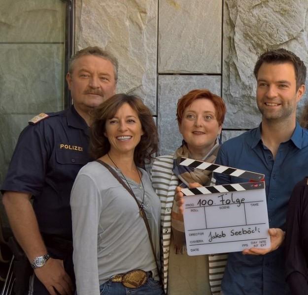 Erfolgreiches SOKO Kitzbühel-Team mit Neuzugang: Ferry Öllinger, Julia Cencig, Neuzugang Veronika Polly löste Christine Klein als Gerichtsmedizinerin ab, und Jakob Seeböck (Foto Hedi Grager)