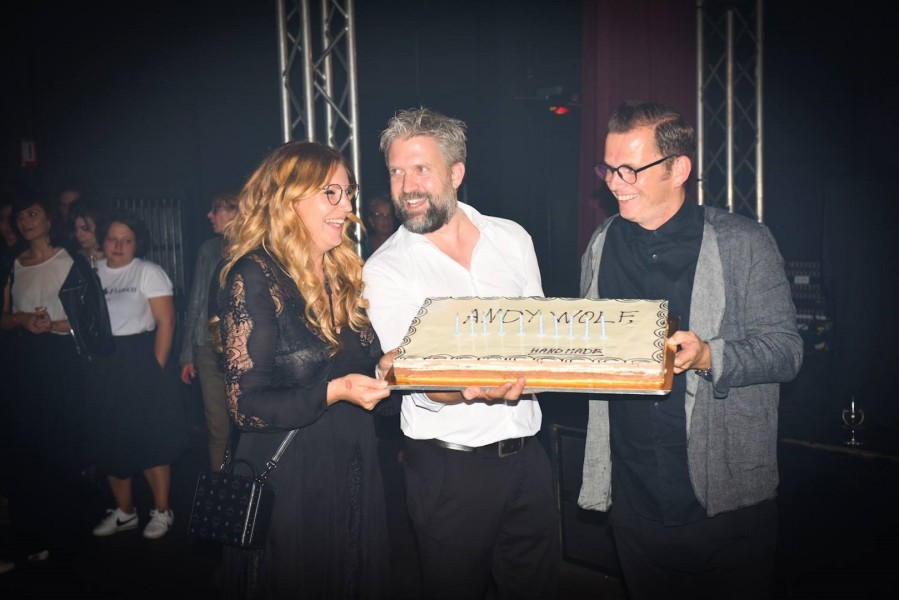 Herzliche Gratulation zu 10 Jahre ANDY WOLF: Katharina Schlager, Andreas Pirkheim und Wolfgang Scheuch (Foto ANDY WOLF)