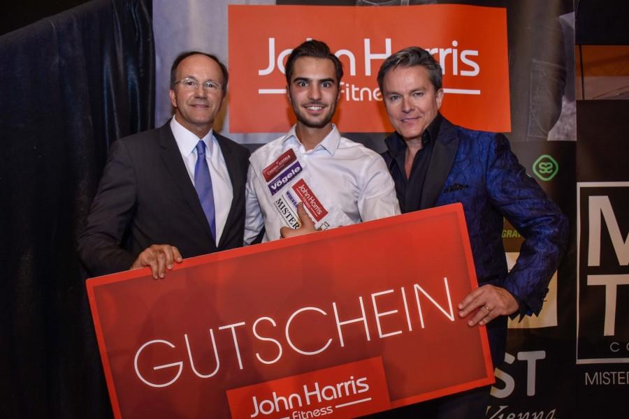 John Harris Inhaber Ernst Minar, Mister Austria 2016 Philipp Rafetseder und Moderator Alfons Haider (Foto Mister Company/Pail)