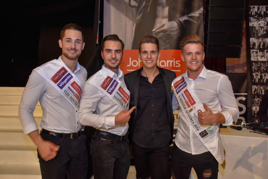 2. Mister Austria Marc Sixt, Mister Austria 2016 Philipp Rafetseder, Mister Austria-Veranstalter Philipp Knefz und 3. Mister Austria Julian Litzlbauer (Foto Mister Company/Pail)