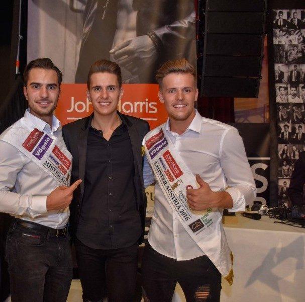 Mister Austria 2016 Philipp Rafetseder, Mister Austria-Veranstalter Philipp Knefz und 3. Mister Austria Julian Litzlbauer (Foto Mister Company/Pail)