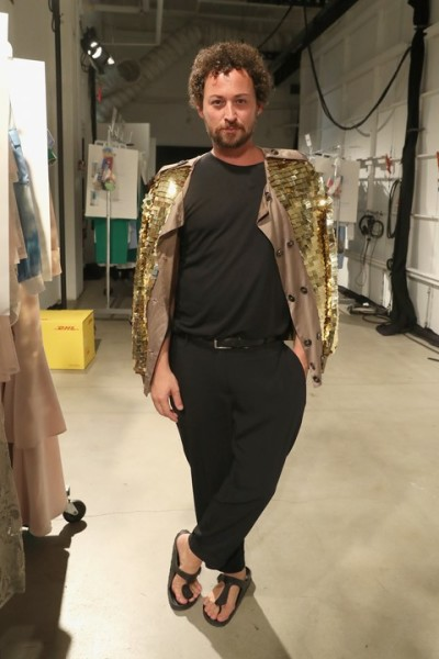 Designer Marcel Ostertag backstage vor seiner Show in New York at The Gallery, Skylight at Clarkson Square  (Photo by Rob Kim/Getty Images for IMG Fashion)
