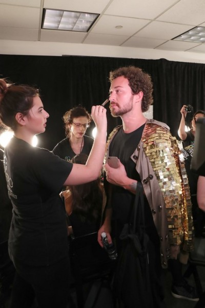 Designer Marcel Ostertag backstage kurz vor seiner Show in New York at The Gallery, Skylight at Clarkson Square (Photo by Rob Kim/Getty Images for IMG Fashion)