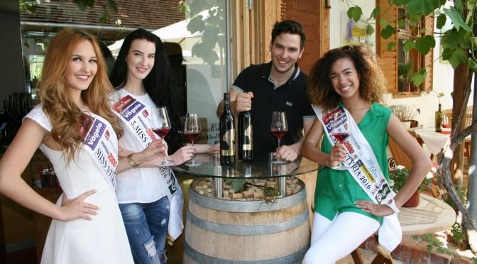 Auch heuer gibt es wieder einen Missen-Wein vom Jungwinzer Christopher Carl Glatz, hier mit Miss Styria 2016 Janine Goger, Vize-Miss Allegra Bell und der Drittplatzierten Merith Seibert (Foto beigestellt)