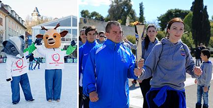 """In Schladming wird die """"Flamme der Hoffnung"""" bereits von Lara und Luis, den offiziellen Maskottchen der Special Olympics World Winter Games 2017, erwartet  (Foto GEPA pictures Mario Buehner)"""