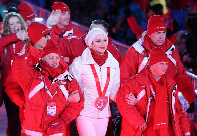 Fürstin Charlene führte bei den Special Olympics 2017 in Schladming die Delegation von Monaco beim Einmarsch an (Foto GEPA Pictures Harald Steiner/Special Olympics)