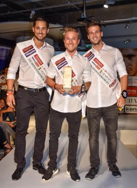 Mister Burgenland 2016 Sinan Munar, Mister Steiermark und Mister Süd Österreich 2016 Mario Stückler und Mister Kärnten Nico Ressmann (Foto Mister Companiy/Pail)
