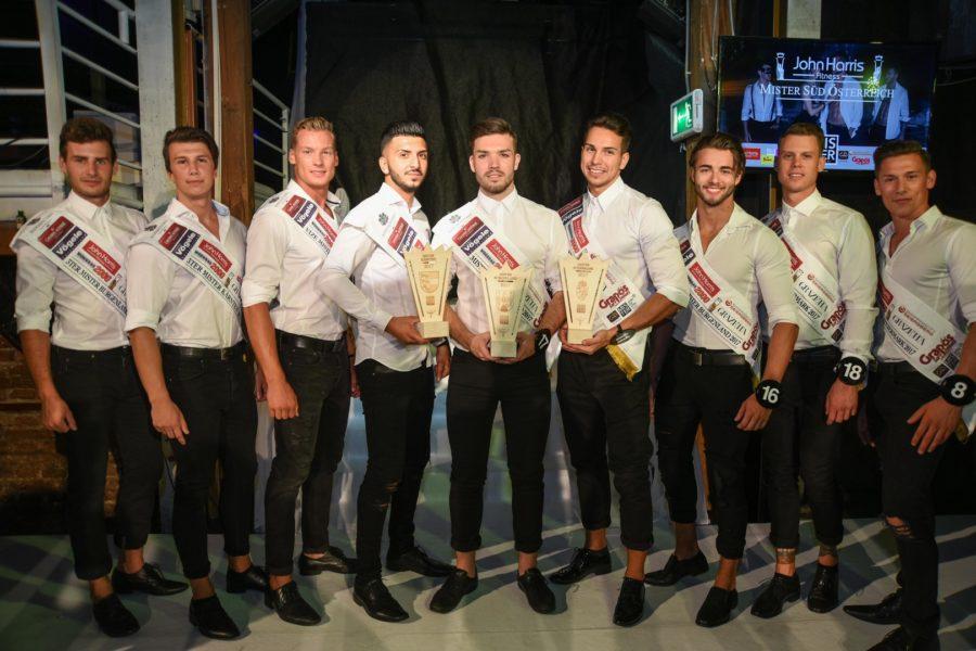 Alle neun Gewinner aus den drei Bundesländern - sie alle dürfen bei der MISTER AUSTRIA WAHL 2017 für ihr Bundesland antreten (Foto MisterCompany/Pail)