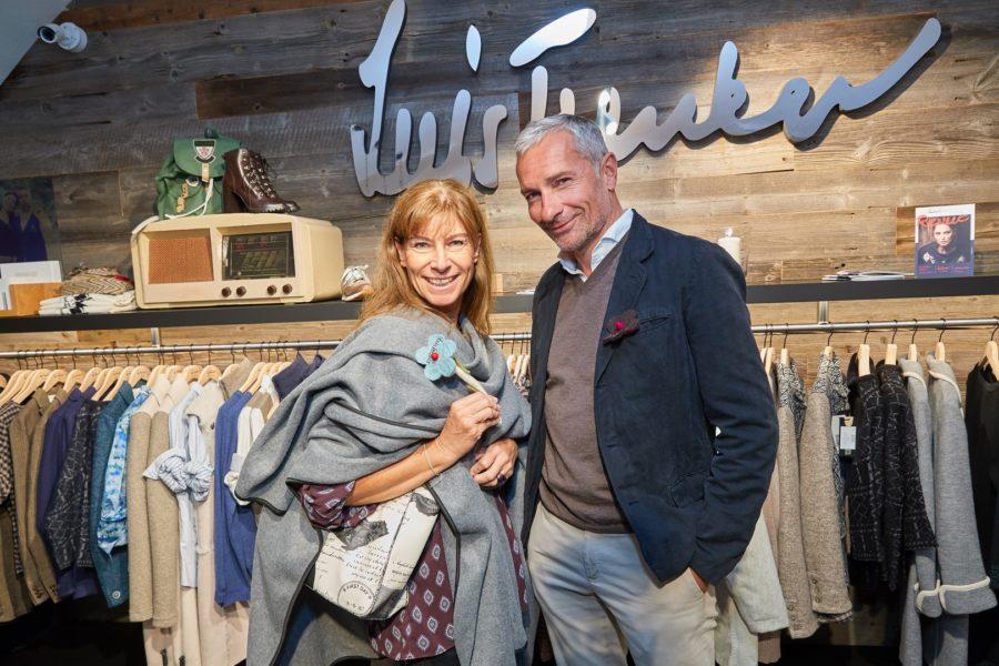 Ex-Eisprinzessin Claudia Kristofics-Binder und Sport-Moderator Rainer Pariasek zeigten sich vom Label Luis Trenker begeistert (Foto Starpix / Alexander Tuma)