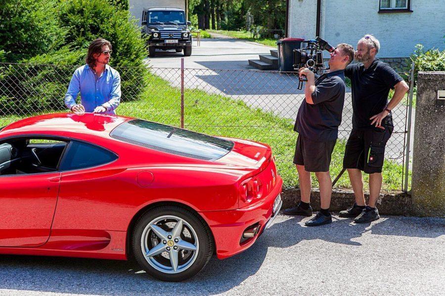 """Swen Temmel bei Dreharbeiten zum Film """"My Jurassic Place"""", hier mit Kameramann Hans Janousek und Kameraassistent Rüdiger Wolf (Foto privat)"""