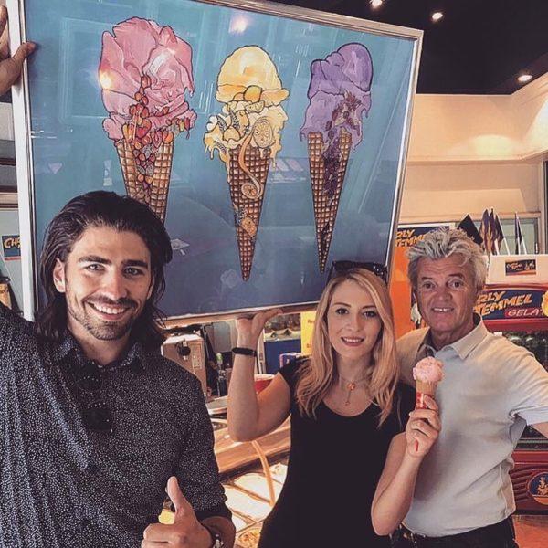 Swen Temmel mit seinem Vater 'Eisbaron' Charly Temmel und der Künstlerin Valentina Eberhardt (Foto privat)