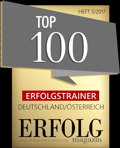 Patricia Staniek wurde von der Expertenjury des Magazin ERFOLG auf Platz 50 von den TOP 100 ERFOLGSTRAINERN Österreich/Deutschland gewählt.