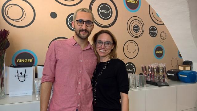 Barbara Klapper von Schwarzkopf und Matthias Gruber von Ginger Hairstyling in der Grazer Sackstraße präsentierte die neue Pflegelinie Schwarzkopf Professionals BC Bonacure Scalp Genesis (Foto Hedi Grager)