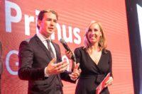 Primus Gala 2018: Kanzler Sebastian Kurz und Moderatorin Nadja Bernhard (Foto Jürgen Fuchs)