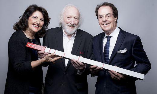 Schauspielerlegende Karl Merkatz mit Margret und Hans Roth, die für ihr Lebenswerk ausgezeichnet wurden (Foto Marija Kanizaj)