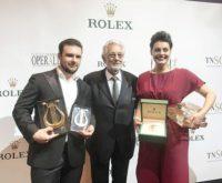 """Pavel Petrov, Oper Graz: doppelter Gewinner des """"Operalia""""-Gesangswettbewerbs. Am Foto mit Wettbewerbs-Gründer Placido Domingo (Foto Oper Graz)"""