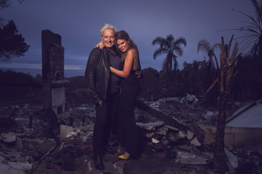 """Ein Power-Couple: Peter Wolf und Lea Wolf-Millesi. Einige Szenen für ihre neue Serie """"Sweet Toxins"""" drehten sie in den Trümmern ihres abgebrannten Hauses in Los Angeles. (Foto Alexander Fenyves)"""