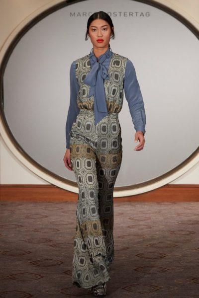 """Im eleganten Rahmen des Hotels """"Westin Grand"""" präsentierte Marcel Ostertag flatternde Kleider, die verschiedene Prints vereinen (Foto Getty Images)"""