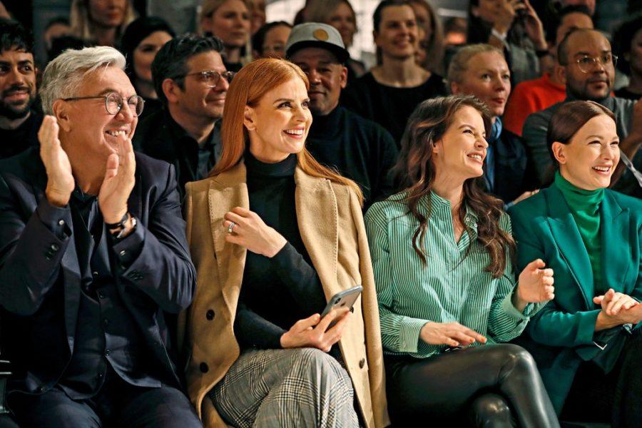 Marc Cain Show Berlin: Marc Cain-Gründer Helmut Schlotterer, Schauspielerinnen Sarah Rafferty, Yvonne Catterfeld und Hannah Herzsprung (Photo by Franziska Krug/Getty Images for Marc Cain)