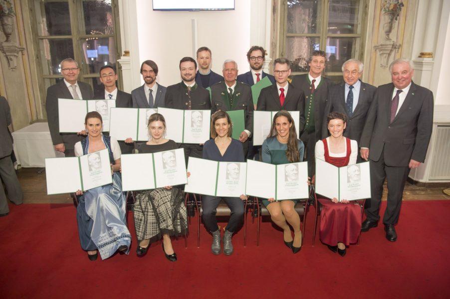 Die Preisträger der Krainer-Preise 2019 in der Aula der Alten Universität in Graz (Foto Fischer)
