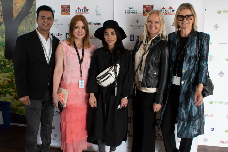 Global Film Showcase/Roskino during the Cannes Film Festival: Gotham Chandna, Nicole Muj, Producer Dena Rassam, Susanne Baumann-Cox - The Good Gin and Journalist&Publisher Hedi Grager (Photo Global Film Showcase 2019)