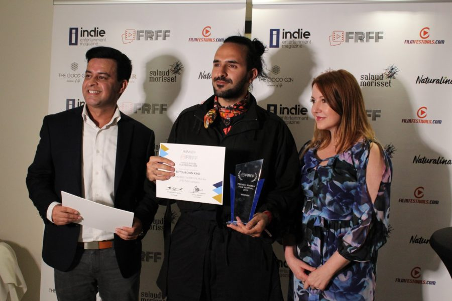 FRFF Award Winner Amir Zargara with Gotham Chandna and Nicole Muj at Eden Hôtel & Spa Cannes (Photo FRFF)
