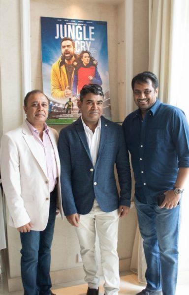 "Producer of ""Jungle Cry"" Prashant Shah, Director Sagar Ballary and Dwiti Chandragupta Vikramaditya, Advisor & Trustee, KIIT University & KISS Foundation (Photo Hedi Grager)"