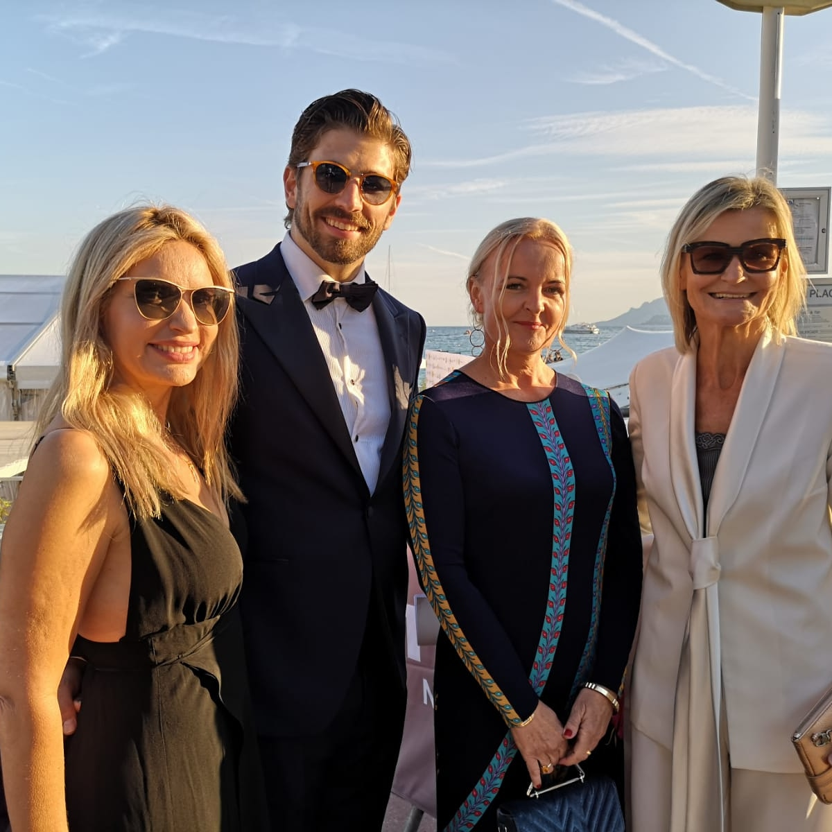 CINÉMOI 'STARS UNITED FOR GOOD' GALA in Cannes: actress and author Meadow Williams, successful austrian actor living in Los Angeles Swen Temmel, Susanne Baumann Cox - The Good Gin and Journalist&Publisher Hedi Grager (Photo by Reinhard Sudy)