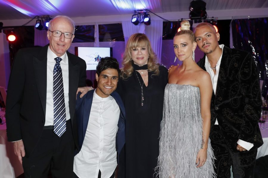 CINÉMOI 'STARS UNITED FOR GOOD' GALA in Cannes: Rod Sherwood, Co-Chairman/CEO, Emmanuel Kelly, Daphna Edwards - President of the Cinémoi Network, Ashlee Simpson and Evan Ross. (Photo by David M. Benett/Getty Images for Cinemoi)