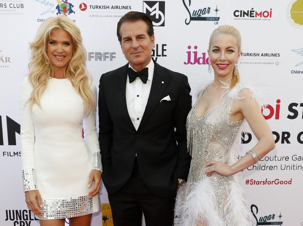 CINÉMOI 'STARS UNITED FOR GOOD' GALA in Cannes: Model Victoria Silvstedt, actor, model and Emmy-Award Winner Vincent De Paul and actress Dustin Quick. (Photo by David M. Benett/Getty Images for Cinemoi)