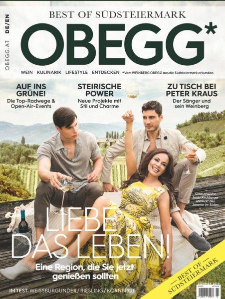 Die aktuelle Ausgabe des Magazins OBEGG - Best of Südsteiermark mit Schauspielerin Sonja Kirchberger am Cover. (Foto Markus Morianz)