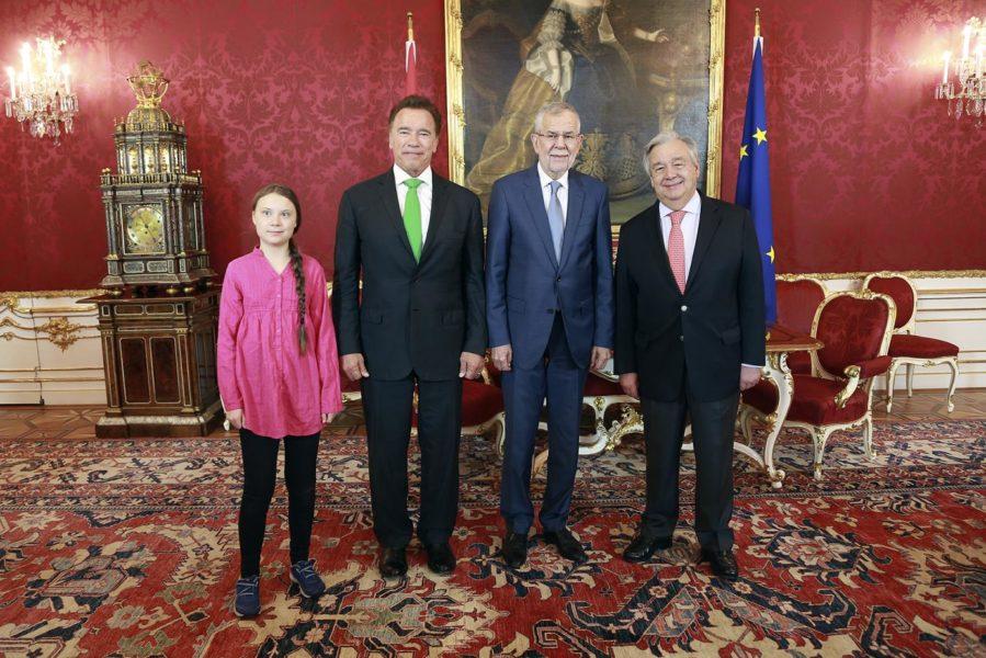 R20 Austrian World Summit 2019: Klimaaktivistin Greta Thunberg, Arnold Schwarzenegger, UN-Generalsekretär António Guterres und Bundespräsident Alexander Van der Bellen. (Foto R20 AWS)