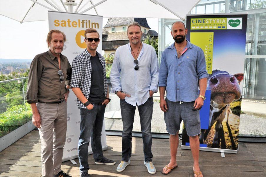 Die erfolgreiche ORF/ZDF-Krimiserie SOKO Donau: Helmut Bohatsch, Michael Steinocher, Stefan Jürgens und 'Gast' Anton Noori. (Foto Reinhard Sudy)