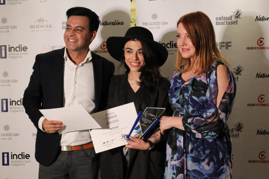 "Dena Rassam won for her short film ""Tattoo"" an award at the FRFF 2019. Here with French Riviera Film Festival founder Nicole Goesseringer Muj of Kultura PR International, and Gotham Chandna of Cloud 21 International. (Photo Hedi Grager)"