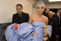 "After winning the category of BEST ORIGINAL SONG – MOTION PICTURE for ""Shallow"" from ""A Star Is Born"", Lady Gaga poses with the award backstage at the 76th Annual Golden Globe Awards at the Beverly Hilton in Beverly Hills, 2019. (HFPA Photographer)"