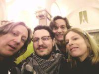 Mario Canedo behind the scenes mit Karin Viard, Lucas Englander und Andreas Simma in Brüssel. (Foto privat)