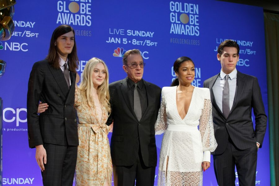 Dylan Brosnan, Dakota Fanning, Susan Kelechi Watson, Tim Allen and Paris Bronson at the 77th annual Golden Globe Awards nominations from the Beverly Hilton Hotel in Beverly Hills. The 77th Golden Globes are set to air on NBC on January 5, 2020. (HFPA Photographer)